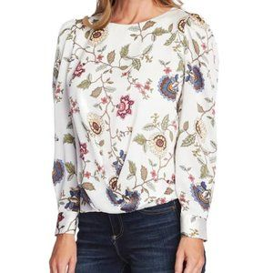 Vince Camuto Floral Puff Sleeve Draped Top Ivory M